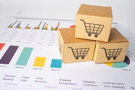 Shopping cart logo on box  on graph background. Banking Account, Investment Analytic research data economy, trading, Business import export transportation online company concept.