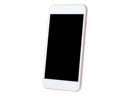 Mobile phone with blank screen isolated on white background.
