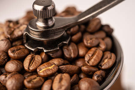 Coffee bean roasted in wooden grinder. Standard-Bild