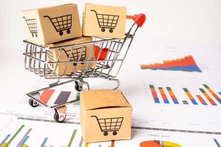 Shopping cart logo on box with graph background. Banking Account, Investment Analytic research data economy, trading, Business import export transportation online company concept.