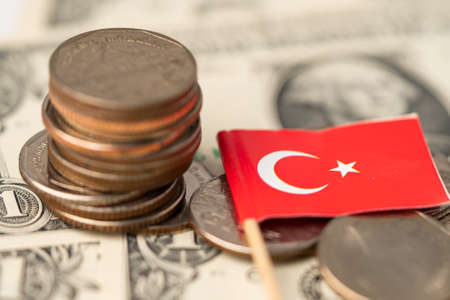 Turkey flag on dollar banknotes background, anking Account, Investment Analytic research data economy, trading, Business company concept. Standard-Bild