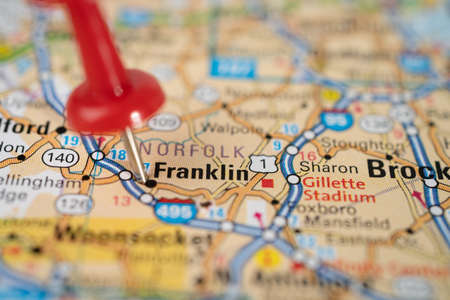 Bangkok, Thailand, June 1, 2020 Franklin, Tennessee, road map with red pushpin, city in the United States of America USA. Editorial