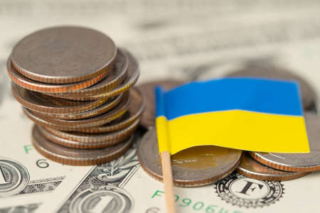 Ukraine Flag on coins background, Business and finance concept.