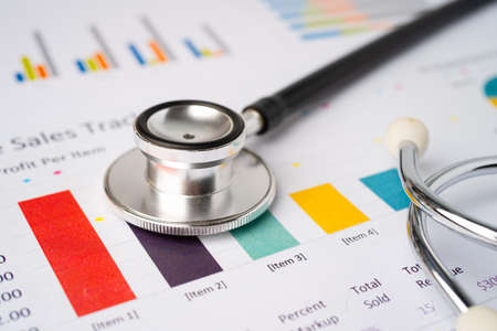 Stethoscope on charts and graphs spreadsheet paper, Finance, Account, Statistics, Investment, Analytic research data economy and Business company concept.