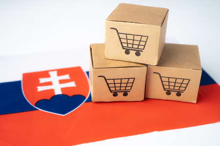Box with shopping cart logo and Slovakia flag, Import Export Shopping online or eCommerce finance delivery service store product shipping, trade, supplier concept.