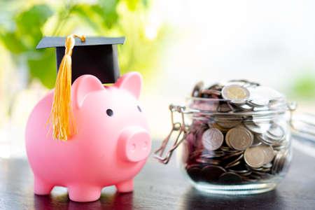 Save money coins in grass jar with piggy bank and graduation cap Foto de archivo