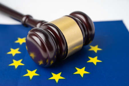 EU flag country with gavel for judge lawyer. Law and justice court concept. Stock fotó