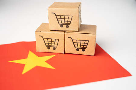Box with shopping cart icon and China flag, Import Export Shopping online or eCommerce finance delivery service store product shipping, trade, supplier concept.