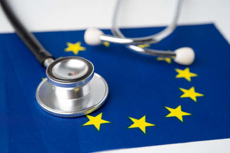 Black stethoscope on EU flag background, Business and finance concept.