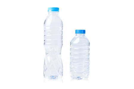 Plastic water bottle big and small size isolated on white background