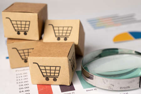 Shopping cart on box with magnifying glass on graph background. Banking Account, Investment Analytic research data economy, trading, Business import export transportation online concept. 免版税图像