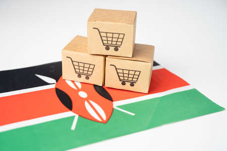 Box with shopping cart logo and Kenya flag, Import Export Shopping online or eCommerce finance delivery service store product shipping, trade, supplier concept.