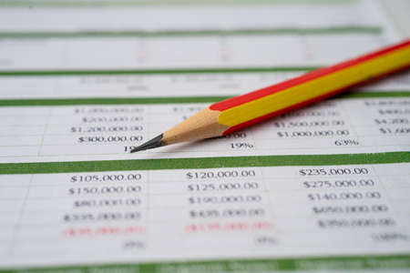 Spreadsheet table paper with pencil. Finance development, Banking Account, Statistics Investment Analytic research data economy, trading, office reporting Business company concept.