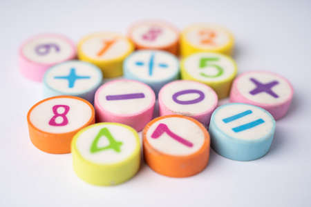 Math Number colorful background, education study mathematics learning teach concept. Stock fotó