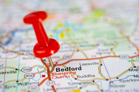 Bangkok, Thailand, June 1, 2020 Bedford, Middlesex County, Massachusetts, road map with red pushpin, city in the United States of America USA.