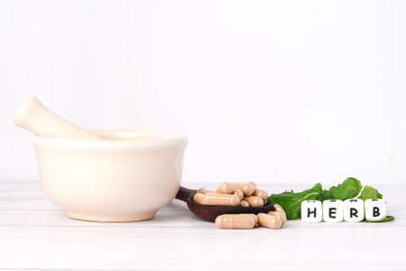 Alternative medicine herbal organic capsule natural supplements for healthy good life. Stock fotó