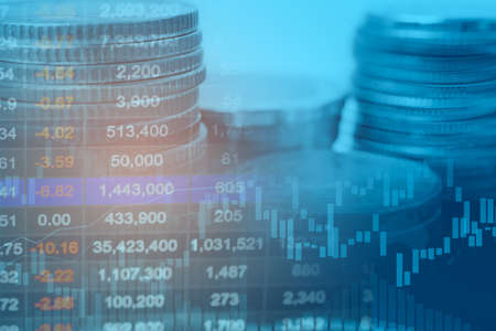 Stock market investment trading financial, coin and graph chart or Forex for analyze profit finance business trend data background. Stock fotó
