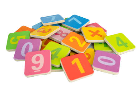 Math number colorful on white background, education study mathematics learning teach concept. Stock fotó