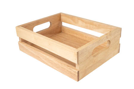 Empty wooden box isolate on white background.
