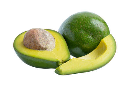 Avocado fruit food whole and half isolated on white background with clipping path. 免版税图像