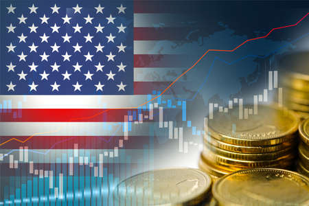 Stock market investment trading financial, coin and USA America flag or Forex for analyze profit finance business trend data background.