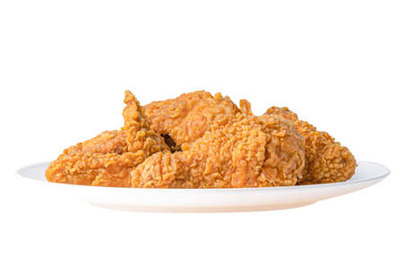 Fried  chicken fast food on white dish isolated on white background.