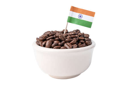 India flag on coffee beans, import export drink food concept.