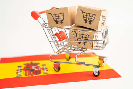 Box with shopping cart and Spain flag, Import Export Shopping online or eCommerce finance delivery service store product shipping, trade, supplier concept.