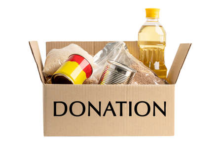 Donation box food support help for poor people in the world isolated on white background with clipping path.