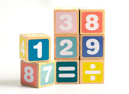 Math number colorful on white background, education study mathematics learning teach concept. Фото со стока