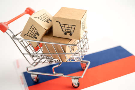 Box with shopping cart logo and Russia flag, Import Export Shopping online or eCommerce finance delivery service store product shipping, trade, supplier concept.