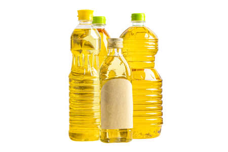 Vegetable oil with olive oil in different bottle for cooking isolated on white background with clipping path.