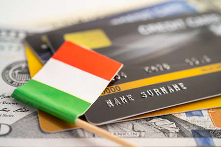 Italy flag on credit card. Finance development, Banking Account, Statistics, Investment Analytic research data economy, Stock exchange trading, Business company concept.
