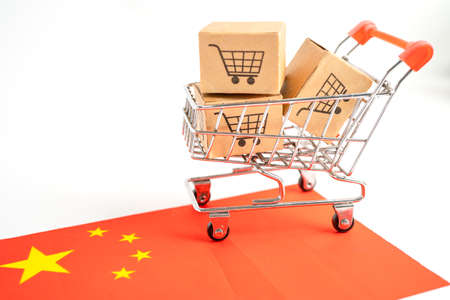 Box with shopping cart logo and China flag, Import Export Shopping online or eCommerce finance delivery service store product shipping, trade, supplier concept.