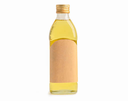 Olive oil vegetable bottle for cooking isolated on white background with clipping path. Фото со стока