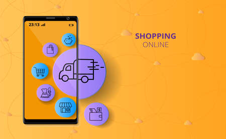 Shopping Online concept on Website in Mobile have Icon image surrounded Mobile, vector illustration about shopping online. 일러스트