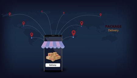 Package Delivery design concept.Fast respond delivery package shipping global.Online order ,3d illustration Ilustracja