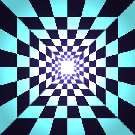 Square deep background.Square deep tunnel with light at the end.Vector illustration.3d illustration Vektorgrafik