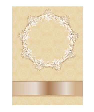 Frame with decorative ornamental flowers, floral pattern in oriental kalamkari style. Space for text. Can be used to create postcards, wedding invitations. In beige tones.