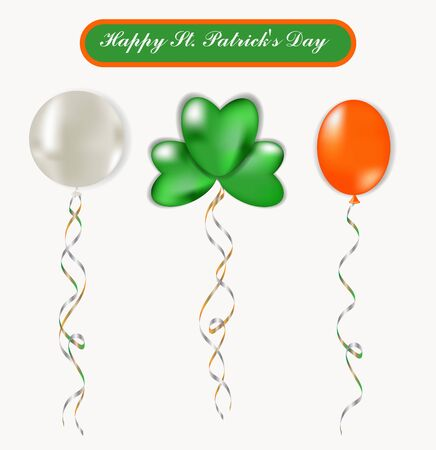 St. Patrick's Day set of colorful balloons. Orange, white and green. Isolated on a white background. Can be used to create banners, cards, invitations, flyers. Green ball in the shape of a clover leaf