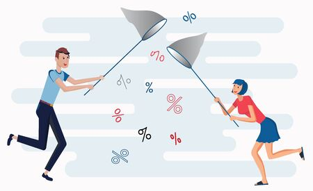 Sale illustration in flat style. A guy and a girl are catching a net with a discount. Can use for web banner, promo poster. Isolated on white background.