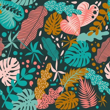 Seamless pattern with tropical leaves of plants. Flat style. Dark background. Drawn by hands. Illustration on a summer theme.  イラスト・ベクター素材