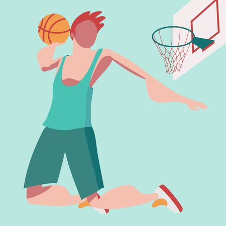 Flat illustration with a bouncing basketball player. Throw the ball into the basket. Winner of sports competitions. Basketball tournament. 向量圖像