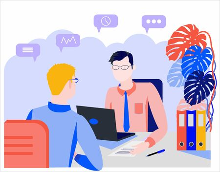 Flat style illustration. Consultation, employment, interview. Office Workers Meeting. Company employees working in the office. Staff recruitment. Resume review.