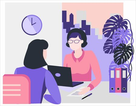 Flat style illustration. Consultation, employment, interview. Office Workers Meeting. Women working in the office. Staff recruitment. Resume review.