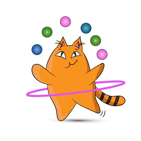 A circus cat twists a hoop and juggles balls. Isolated on a white background. 일러스트