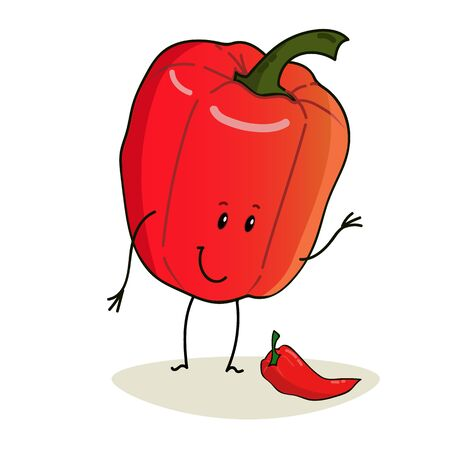 Animated funny and cute red peppers. Isolated on a white background.