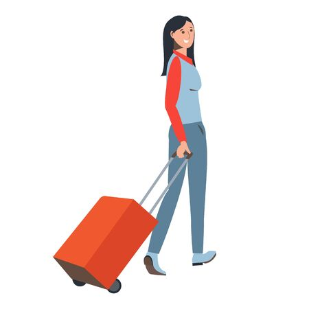 Girl with a valise. Traveler. Brunette smiling. Luggage.  Suitcase on wheels.  Flat illustration. A long trip or vacation. Station, airport. Isolated on a white background.