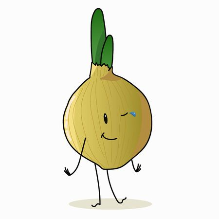 Onion with a cheerful face. Green vegetables, food, vegetarian healthy food. The character. Hand drawn. Isolated on a white background. 向量圖像