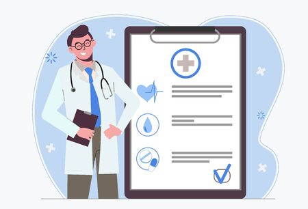 Male doctor. Medical insurance. Doctors appointment. Examination and medical history. Healthcare Flat illustration isolated on white background